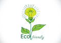 Eco friendly light bulb plant growing green energy concept Stock Photos