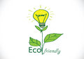 Eco friendly light bulb plant growing green energy concept Stock Image