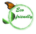 Eco friendly logo an ecofriendly with green leaves and butterfly Stock Photos
