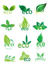 Eco friendly logo icons set green Stock Photography