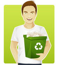 Eco-friendly man sorting a trash Royalty Free Stock Images