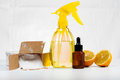 Eco-friendly natural cleaners made of lemon and baking soda on w