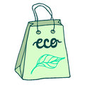 Eco friendly paper bag with handles. Paper shopping bag Royalty Free Stock Photo