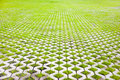 Eco friendly parking of concrete cells and turf grass Royalty Free Stock Photography