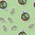 Eco friendly spa seamless pattern with herbal tea and leaves. Go green living