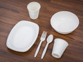 Eco friendly Unbleached plant fiber dishware set Royalty Free Stock Photo