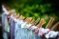 Eco-friendly washing line laundry drying Royalty Free Stock Photo
