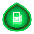 Eco fuel concept big green leaf with white gas station icon over it vector illustration isolated on white background Royalty Free Stock Photos