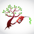 Eco gas pump tree illustration design over a white background Royalty Free Stock Photography