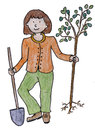 Eco girl set tree and holding a shovel Royalty Free Stock Images