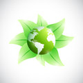 Eco globe and leaves illustration design over a white background Stock Photography