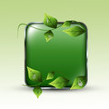 Eco green background framed rectangle with leafs and water drops Royalty Free Stock Images