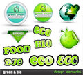 Eco & Green Bio set of stickers Royalty Free Stock Photo