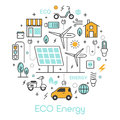 ECO Green Energy Thin Line Icons Set with Solar Battery and Windmill Royalty Free Stock Photo