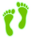 Eco green footprints illustration of ecological concept on white background Royalty Free Stock Photos