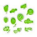 Eco green labels collection white background Stock Photos