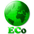 Eco green world globe glossy illustration of for ecological or environmental theme Stock Photography