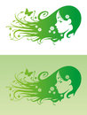 Eco hair vector of beautiful girl with flowers in her on green background Stock Image
