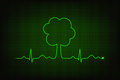 Eco heart beat cardiogram line forming tree shape Stock Images