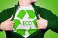 Eco hero man showing green symbol recycle Stock Images