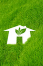 Eco home background of closeup shot on green grass Stock Image