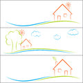 Eco home green house concept banners set Stock Photo