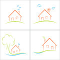 Eco home green house concept icons set Royalty Free Stock Image