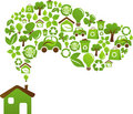 Eco house concept - green energy icons