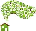 Dům zelený energie ikony