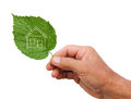 Eco house concept hand holding eco house icon in nature isolate Royalty Free Stock Photo