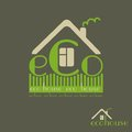 Eco house eco friendly natural materials dark background emblem Royalty Free Stock Photos