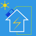 Eco house with solar battery as idea of friendly source of energy Royalty Free Stock Image