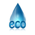Eco icon drop of blue and word on white background Stock Image