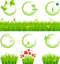 Eco icon and grass