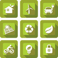 Eco icon sets design friendly in green Stock Photo