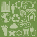 Eco icons design over green background illustration Stock Photos