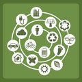 Eco icons design over green background illustration Stock Image