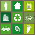 Eco icons design over green background illustration Royalty Free Stock Photo
