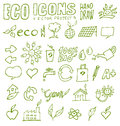 Eco icons hand draw project Royalty Free Stock Photos