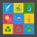 Eco icons multicolored ecological set against a dark background Royalty Free Stock Photos