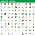 100 eco icons set, cartoon style
