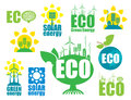 Eco icons set of on the theme of environmental protection and alternative energy Stock Photo