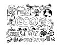 Eco idea sketch and eco friendly doodles an images of Stock Photo