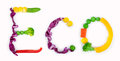 Eco inscription from pieces of vegetables on white background Royalty Free Stock Image