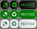 Eco keys set of icons with recycling and earth signs Royalty Free Stock Images
