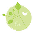 Eco label leaves birds Royalty Free Stock Photo