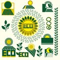 Eco labels with retro vintage design vector Royalty Free Stock Photography