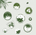 Eco labels set of organic and farm fresh food badges and Stock Photo