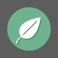 Eco leaf flat icon. Round colorful button, circular vector sign with shadow effect. Flat style design.