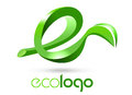 Eco leaf logo illustration drawing representing d letter e with at one end Stock Photos